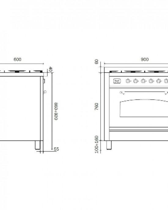 P09PNE3義大利ILVE原裝進口獨立式/四口瓦斯爐+魚排爐(期貨)
